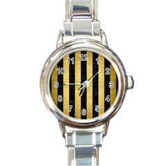 STR1 BK MARBLE GOLD Round Italian Charm Watch
