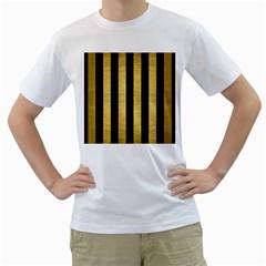 STR1 BK MARBLE GOLD Men s T-Shirt (White) (Two Sided)