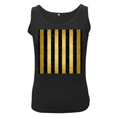Stripes1 Black Marble & Gold Brushed Metal Women s Black Tank Top