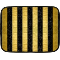Stripes1 Black Marble & Gold Brushed Metal Double Sided Fleece Blanket (mini)