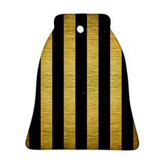 Stripes1 Black Marble & Gold Brushed Metal Bell Ornament (two Sides)
