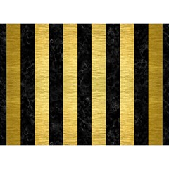 Stripes1 Black Marble & Gold Brushed Metal Birthday Cake 3d Greeting Card (7x5)
