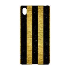 Stripes1 Black Marble & Gold Brushed Metal Sony Xperia Z3+ Hardshell Case