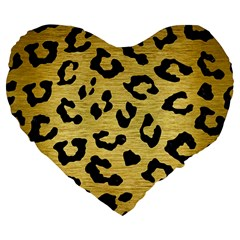 SKN5 BK MARBLE GOLD Large 19  Premium Flano Heart Shape Cushions