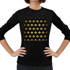 RYL1 BK MARBLE GOLD (R) Women s Long Sleeve Dark T-Shirts