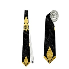 Royal1 Black Marble & Gold Brushed Metal (r) Necktie (one Side)
