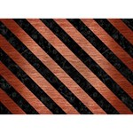 STRIPES3 BLACK MARBLE & COPPER BRUSHED METAL (R) Clover 3D Greeting Card (7x5) Front