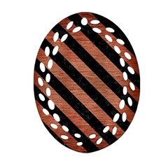 Stripes3 Black Marble & Copper Brushed Metal (r) Oval Filigree Ornament (two Sides)