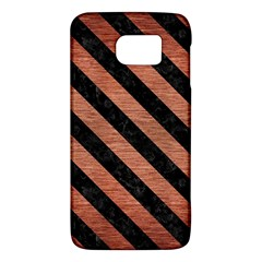 Stripes3 Black Marble & Copper Brushed Metal (r) Samsung Galaxy S6 Hardshell Case