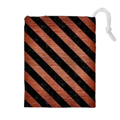 STR3 BK MARBLE COPPER (R) Drawstring Pouches (Extra Large)