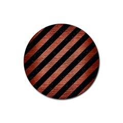 STR3 BK MARBLE COPPER Rubber Round Coaster (4 pack)