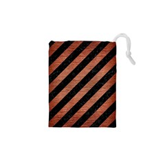 Stripes3 Black Marble & Copper Brushed Metal Drawstring Pouch (xs)