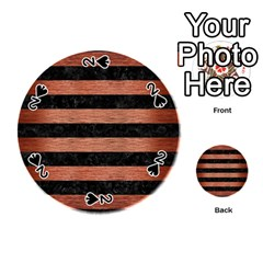 Stripes2 Black Marble & Copper Brushed Metal Playing Cards 54 (round)