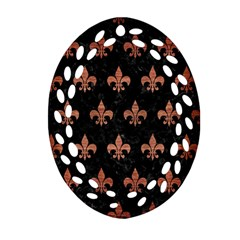 Royal1 Black Marble & Copper Brushed Metal (r) Ornament (oval Filigree)