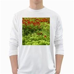 Poppy V White Long Sleeve T-Shirts