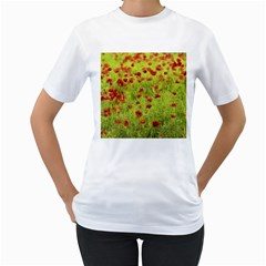 Poppy VIII Women s T-Shirt (White) (Two Sided)