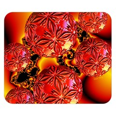Flame Delights, Abstract Crimson Red Fire Fractal Double Sided Flano Blanket (small)