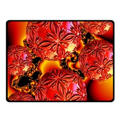 Flame Delights, Abstract Crimson Red Fire Fractal Fleece Blanket (small)