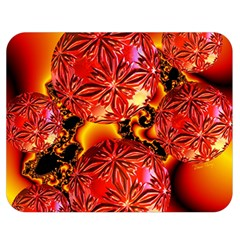 Flame Delights, Abstract Crimson Red Fire Fractal Double Sided Flano Blanket (medium)