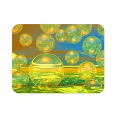 Golden Days, Abstract Yellow Azure Tranquility Double Sided Flano Blanket (Mini)
