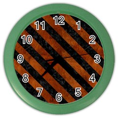 Stripes3 Black Marble & Brown Burl Wood (r) Color Wall Clock