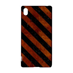Stripes3 Black Marble & Brown Burl Wood (r) Sony Xperia Z3+ Hardshell Case