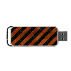Stripes3 Black Marble & Brown Burl Wood Portable Usb Flash (two Sides)