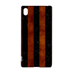 Stripes1 Black Marble & Brown Burl Wood Sony Xperia Z3+ Hardshell Case