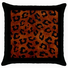 Skin5 Black Marble & Brown Burl Wood Throw Pillow Case (black)