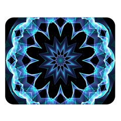 Crystal Star, Abstract Glowing Blue Mandala Double Sided Flano Blanket (Large)