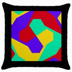 Colorful misc shapes                                                  			Throw Pillow Case (Black)