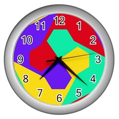 Colorful misc shapes                                                  Wall Clock (Silver)