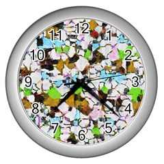 Brush strokes on a white background                                                   Wall Clock (Silver)
