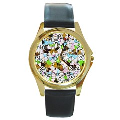 Brush strokes on a white background                                                   			Round Gold Metal Watch