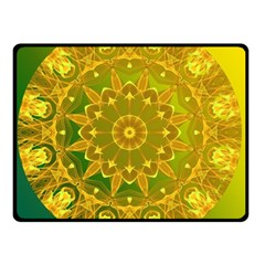 Yellow Green Abstract Wheel Of Fire Double Sided Fleece Blanket (small)