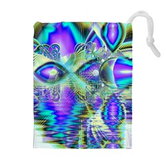 Abstract Peacock Celebration, Golden Violet Teal Drawstring Pouches (Extra Large)