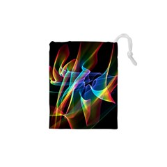 Aurora Ribbons, Abstract Rainbow Veils  Drawstring Pouches (xs)