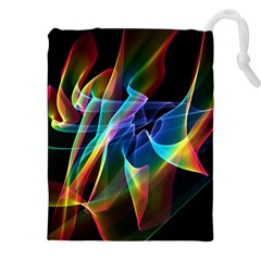 Aurora Ribbons, Abstract Rainbow Veils  Drawstring Pouches (XXL)