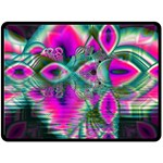 Crystal Flower Garden, Abstract Teal Violet Double Sided Fleece Blanket (Large)  80 x60 Blanket Front