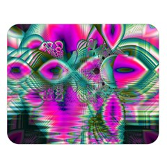 Crystal Flower Garden, Abstract Teal Violet Double Sided Flano Blanket (Large)