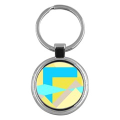 Blue yellow shapes                                                        Key Chain (Round)