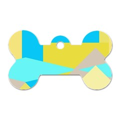Blue yellow shapes                                                        			Dog Tag Bone (One Side)