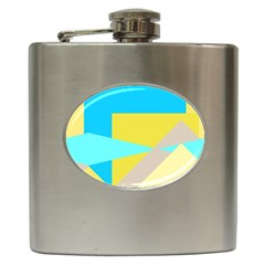 Blue yellow shapes                                                        Hip Flask (6 oz)