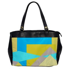 Blue yellow shapes                                                        			Oversize Office Handbag