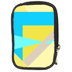 Blue yellow shapes                                                        			Compact Camera Leather Case