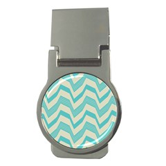 Blue waves pattern                                                         			Money Clip (Round)