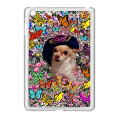 Chi Chi In Butterflies, Chihuahua Dog In Cute Hat Apple iPad Mini Case (White)
