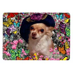Chi Chi In Butterflies, Chihuahua Dog In Cute Hat Samsung Galaxy Tab 10.1  P7500 Flip Case