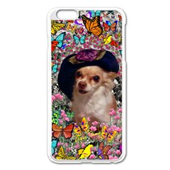 Chi Chi In Butterflies, Chihuahua Dog In Cute Hat Apple iPhone 6 Plus/6S Plus Enamel White Case