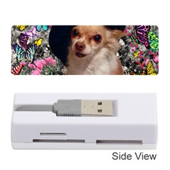 Chi Chi In Butterflies, Chihuahua Dog In Cute Hat Memory Card Reader (Stick)